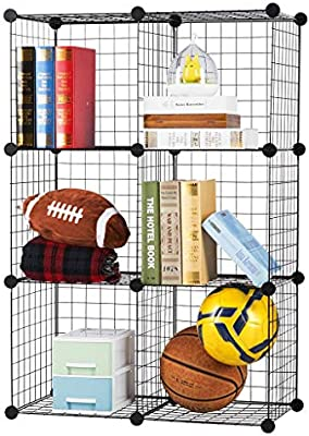 6-Cube DIY Wire Grid Bookcase Open Multi-Use Modular Storage Shelving Rack