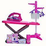 Children Iron and Ironing Board Set, Kids Pretend Play Laundry Cleaning Role Play Set With Clothes Stand