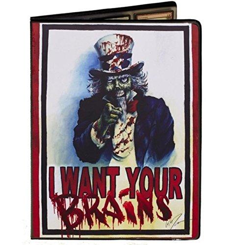 Uncle Sam Zombie Artwork - I Want Your Brains - Combo Portfolio Album (9 Pocket Trading Card Binder)