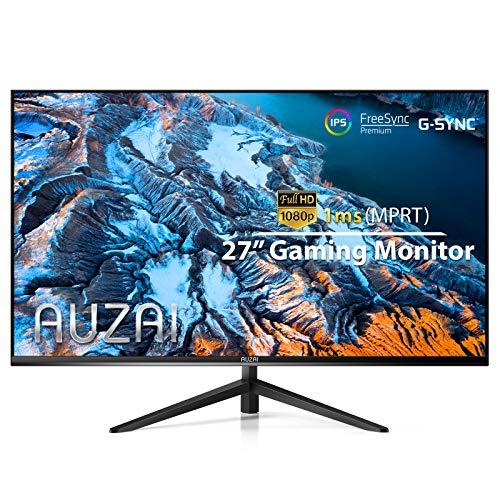 Monitor de computadora - 2021 AUZAI 27 pulgadas 144Hz 1ms IPS monitores para juegos, pantalla sin marco FHD 1080P, compatible con G-Sync y FreeSync, con puerto HDMI / DP / USB para PC Xbox PS4 / 5, pivote de inclinación, montaje VESA