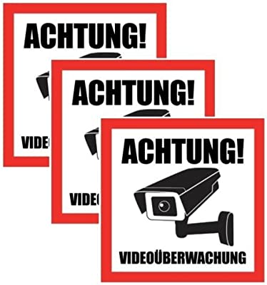 3 x Advertencia Video Vigilancia Pegatinas 10,5 x 10,5 cm ...