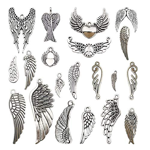 Youdiyla 40pcs Wing Charms Collection, Antique Silver Tone, Mix Eagle Cupid Wing Metal Pendant Supplies Findings for Jewelry Making (HM185)