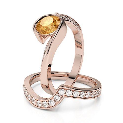 Or Rose 18carats 1CT G-H/VS sertie de diamants ronds Cut Citrine et mariée Bague de fiançailles et ensemble de Agdr-2019