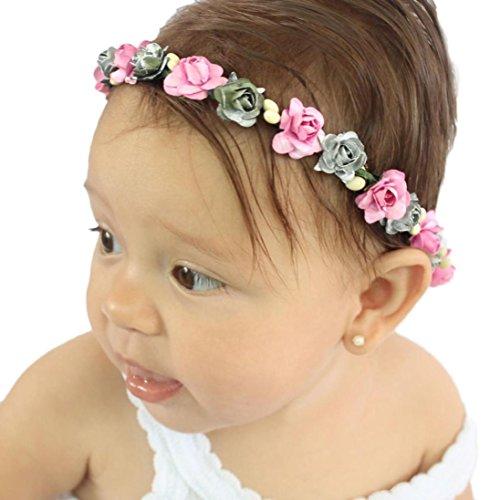 DIGOOD Baby Girls Boys Attractive Handmade Flower Wreath Headband Party Head Decor Accessories (Pink)