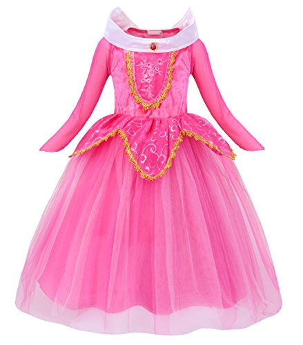 Cotrio Princess Aurora Dress Up Costume for Little Girls Birthday Party Dresses Long Sleeve Halloween Outfits Clothes Size 8 (130, 7-8Years, -