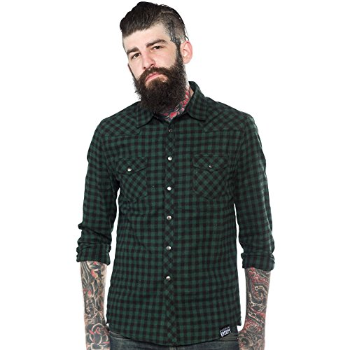 Mens-Kustom-Kreeps-Western-Button-Down-Shirt-Green