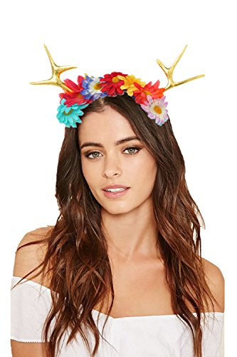 JeVenis Luxury Deer Antler Headband Fawn Horns Costumes Festival Party Hats (One Size, Gold with Flower) -