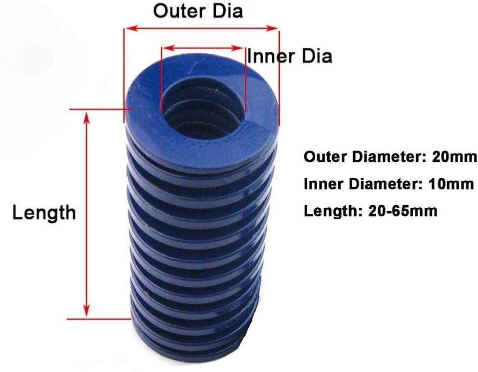 Gr/ö/ße : 20x10x20mm NO LOGO W-NUANJUN-Spring 1Pcs blaues Licht Last Spiral Stamping Compression Das Federaussendurchmesser 20 mm Innendurchmesser 10mm L/änge 20-65mm