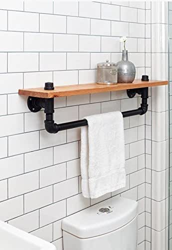 Amazon.com: Industrial Towel Rack Shelf, Rustic Bathroom