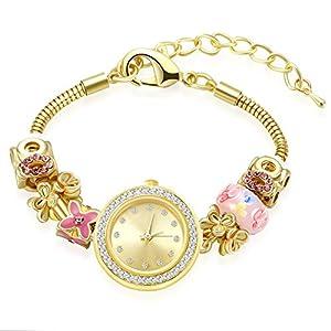 MANBARA Gold Tone Charm Bracelet Wrist Watches for Women Party Jewelry