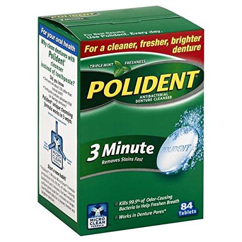 Polident 3-Minute Antibacterial Denture Cleanser-84 ct (Denture Cleaner 3 Minute)