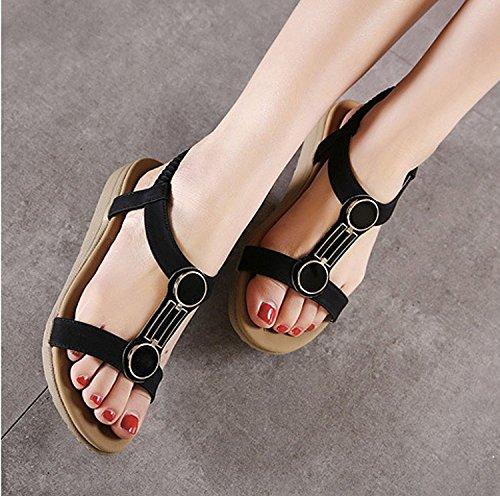 Mine tom Mujeres Sandalias Peep Toe Sandalias Verano T-Correa Playa Zapatos Planos Del Talón Negro