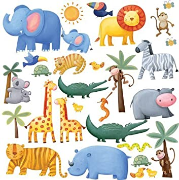 RoomMates Repositionable Childrens Wall Stickers Jungle Adventure Design Inspirations