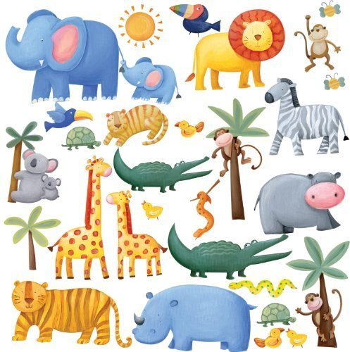 (RoomMates RMK1136SCS Jungle Adventure Peel & Stick Wall Decals, Multi)