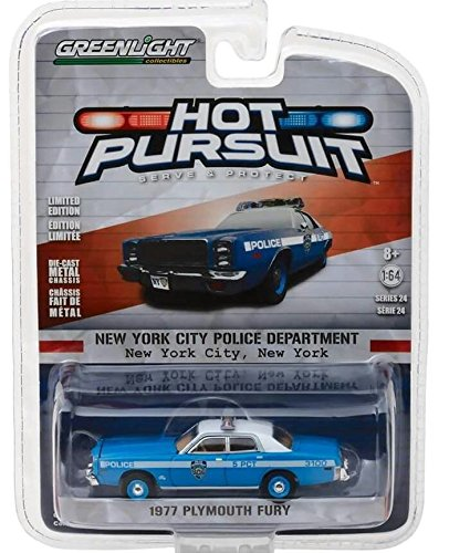 1977 Car (1977 Plymouth Fury New York Police Department (NYPD) Hot Pursuit Series 24 1/64 Diecast Model Car by Greenlight 42810 B)