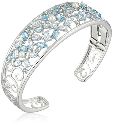 Sterling Silver Genuine Blue Topaz, Freshwater Cultured Pearl, and Created White Sapphire Open Cuff Bracelet, 7.25