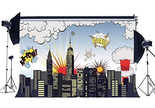 Gladbuy 7X5FT Happy Birthday Backdrop Cartoon Super City Boom Bang White Cloud Holy Lights Building Vinyl Photography Backgroun Boys Children First Birthday Party Decoration Photo Studio Props CA12