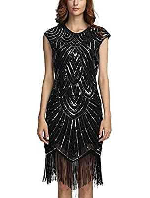 NEWHOT Women's Flapper Dresses 1920s Beaded Fringed Classic Gatsby Dress