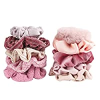 Grobro7 10Pcs Multi-Material Hair Scrunchies Velvet Elastic Hair Bands Blush Soft Bobbles Elastic Hair Ties Elegant Hair Accessories for Women (Pink Series)