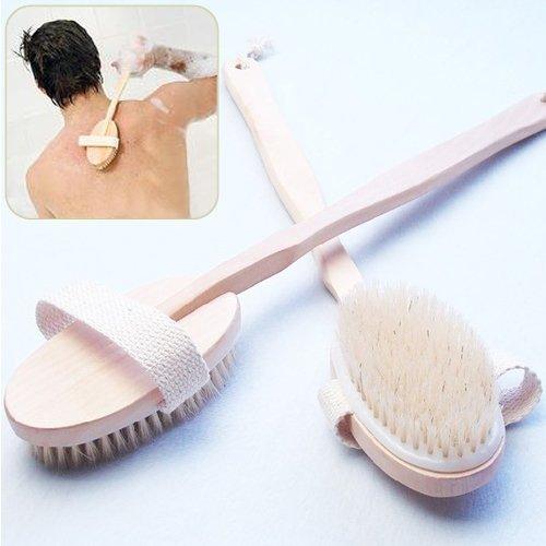 BUYEONLINE Long Handle Natural Wood Bath Body Brush Back Spa