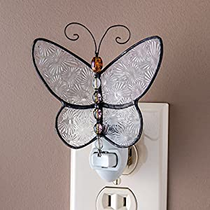 J Devlin Ntl 176 Butterfly Night Light Decorative Clear Stained Glass with Colorful Beaded Body