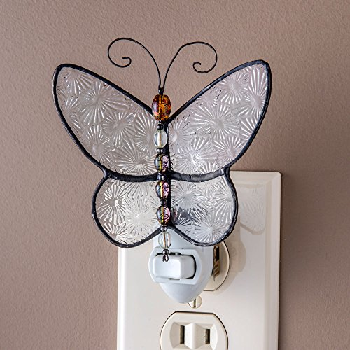 Price comparison product image J Devlin Ntl 176 Stained Glass Butterfly Night Light Clear Texture and Colorful Beaded Body