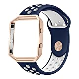 Fitbit Blaze Bands, UMTELE Sport Silicone Replacement Strap with Rose Gold Frame for Fitbit Blaze Smart Fitness Watch Blue/White