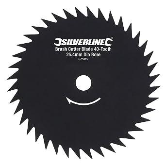 Silverline 675319 - Disco para desbrozadora de 40 dientes (Agujero Ø25,4 mm): Amazon.es: Industria, empresas y ciencia