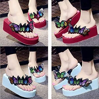 Todaies Wedges Flip Flops,Women Girls Butterfly Floral Sandals Slippers Beach Shoes