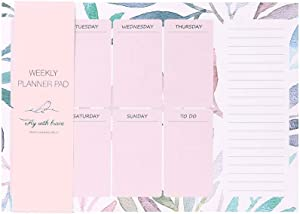 """Pretty Weekly Planner Sticky Pad, Time Organization for Office or Personal Use, Wall or Desktop Planner Pad, 80 Sheets Largest Quantity of Sheets Available, Large 10.5"""" by 7.5"""""""