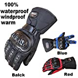Inf-way Motorcycle Gloves Waterproof Warm Motocross Racing Motos Motorbike Cycling Glove Protective Antiskid Polyester Racing Motorcycle Gloves (XL, Black)