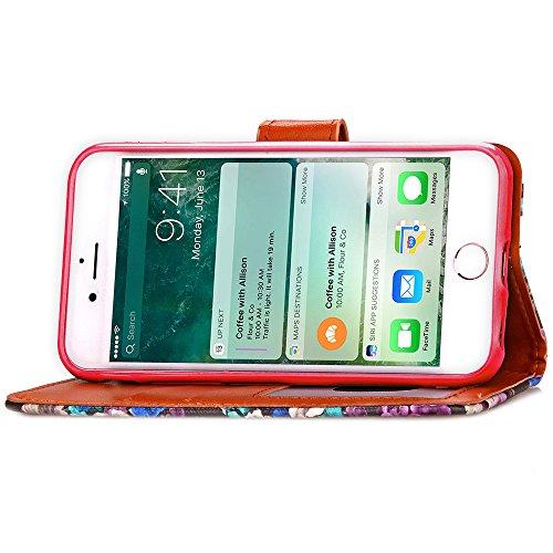 Voguecase® Pour Apple iPhone 7 Coque, Étui en cuir synthétique chic avec fonction support pratique pour Apple iPhone 7 (Résumé de fleurs-Rouge)de Gratuit stylet l'écran aléatoire universelle