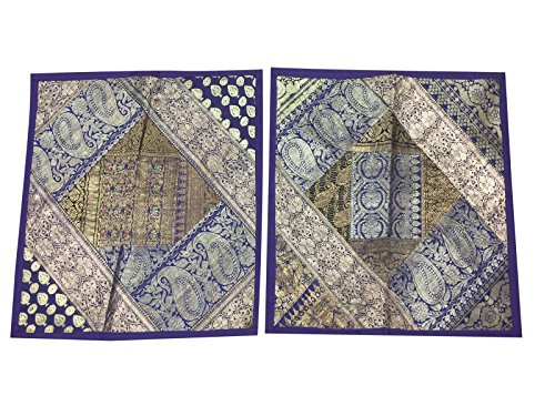 2 Square Silk Cushion Cover Indian Sari Border Patchwork Bohemian Toss Pillow Cases