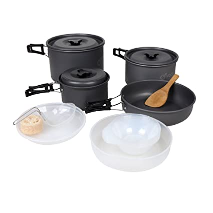 Yodo – Juego de batería de cocina sartenes olla de campaña de aluminio anodizado Mess Kit