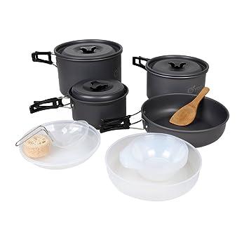 Yodo - Juego de batería de cocina sartenes olla de campaña de aluminio anodizado Mess Kit: Amazon.es: Deportes y aire libre