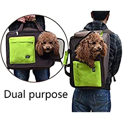 PUPTECK Dual Purpose Soft dog Travel Carrier BackPack Green