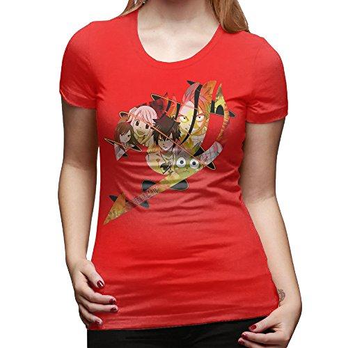 GOOOET Women's Fairy Tale Logo Cotton T Shirt Red L