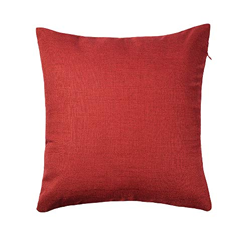 RainRoad Cotton Linen Decorative Throw Pillow Covers Cushion Cases Red for Couch Bed 18