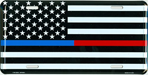 Thin Blue/Red Line USA Metal License Plate - 6x12 inch Black and White American Flag Auto Tag for Cars and Trucks - In Support of First Responders - Police, Firefighters, EMS