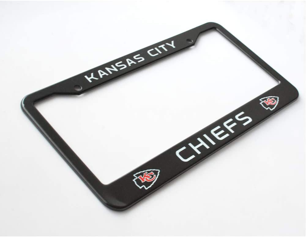Matte Aluminum License Plate Frame with Black Screw Caps 2Pcs 2 Holes Black Licenses Plates Frames For Kansas City Chiefs Kansas City Chiefs Car Licenses Plate Covers Holders for US Vehicles