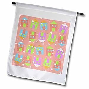S. Fernleaf Designs Patterns Folk Art - Patterns, Folk Art, Whimsical, Houses, Pink, Snow Accent - 18 x 27 inch Garden Flag (fl_37484_2)