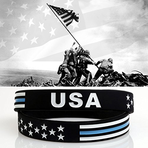 th USA Thin Blue Line Silicone Bracelets Wristbands United States American Flag Americanism Partriotic Spirit Sports Holiday Gifts (2 Pcs) (Silicone Flag)