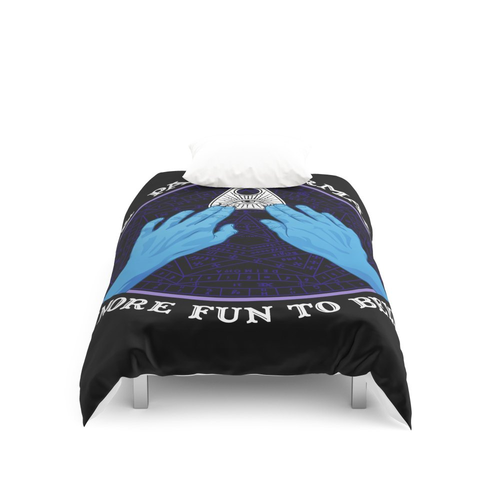 Society6 Me & Paranormal You - James Roper Design - Ouija (white lettering) Duvet Covers Twin XL: 68'' x 92''