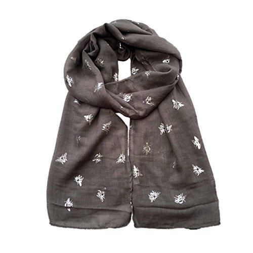 New Women's Scarves Ladies glitter Scarf Silver Metallic Bee Print Shawl Snood (Grey)