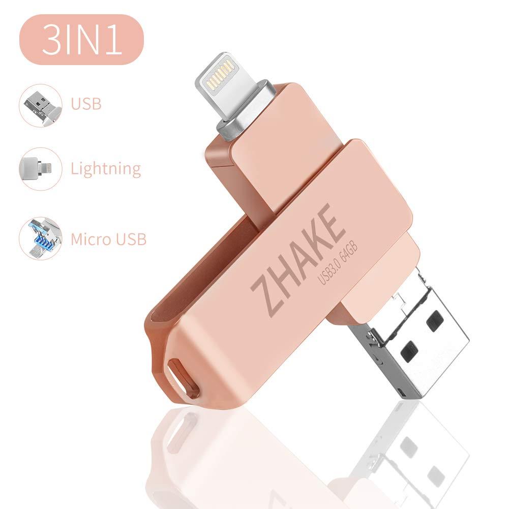 Memoria USB Universal de 64 GB 3.0, Pen Drive Tipo Micro USB Unidad de Almacenamiento Externo U Disk para iPhone/iPad/iPod/Mac/iOS/teléfono móvil y ...