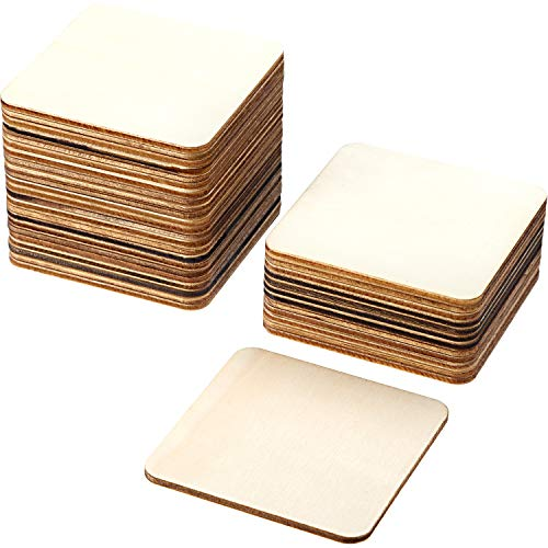 Boao Blank Wood Squares Wood Pieces Unfinished Round Corner Square Wooden Cutouts for DIY Arts Craft Project, Decoration, Laser Engraving Carving (3 x 3 Inch, 36 - Pieces X 3