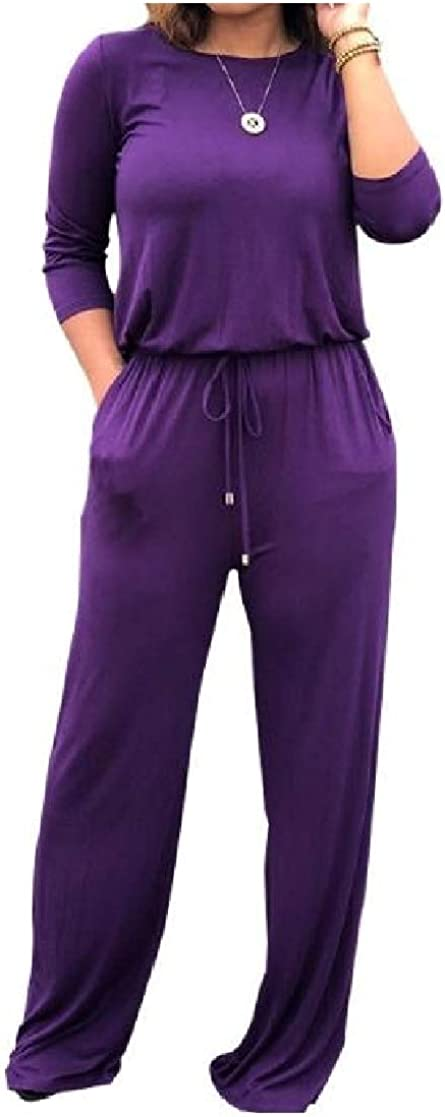 YUNY Womens Fall /& Winter Cozy Straps Long Sleeve Pure Color Jumpsuits Rompers Purple XL