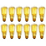 Globe Electric 8440501 60-Watt S60 Antique Style Squirrel Cage Incandescent Medium Base Vintage Light Bulb, 12-Pack