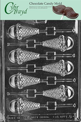 Cybrtrayd Life of the Party K008 Ice Cream Cone Lolly Chocolate Candy Mold in Sealed Protective Poly Bag Imprinted with Copyrighted Cybrtrayd Molding Instructions ()