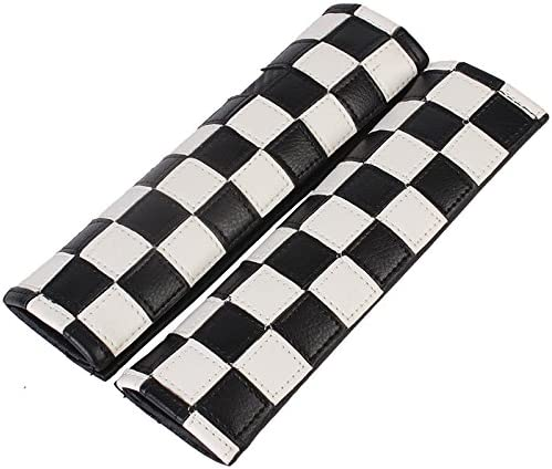 Sodez Gray Union Jack UK Flag Sythentic Leather Driver Passenger Seat Belt Pad for Mini Cooper Matching Style